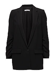 Ruched sleeves blazer - BLACK