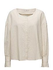 Button linen-blend blouse - LIGHT BEIGE