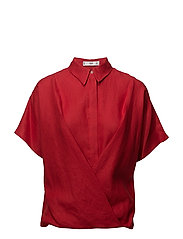 Wrap linen-blend shirt - RED