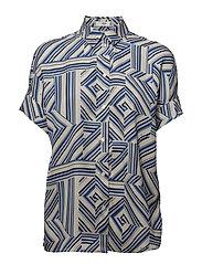 Mixed print shirt - MEDIUM BLUE