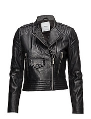 Quilted panels leather jacket - BLACK
