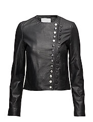 Buttoned leather jacket - BLACK