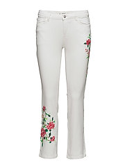 Embroidered straight cropped jeans - WHITE
