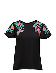 Embroidered flowers t-shirt - BLACK