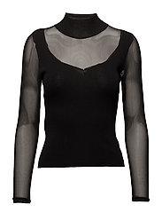 Contrast panel sweater - BLACK