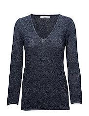 Metallic finish sweater - NAVY