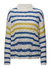 Knit striped sweater - LIGHT BEIGE