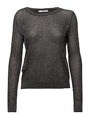 Metallic thread textured sweater - BLACK