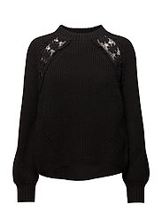Open work-detail sweater - BLACK