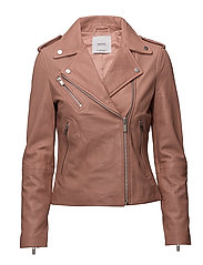 Leather biker jacket - LT-PASTEL PINK