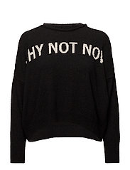 Embroidered message sweater - BLACK