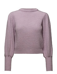 Puffed sleeves ribbed jumper - LT-PASTEL PURPLE