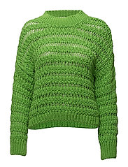 Openwork knit sweater - GREEN