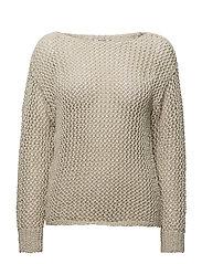 Open-knit sweater - LIGHT BEIGE