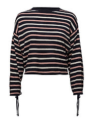 Puffed sleeves striped sweater - NAVY