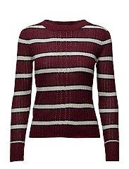Striped rib sweater - DARK RED
