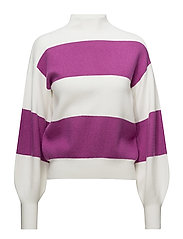 Puffed sleeves striped sweater - BRIGHT PINK