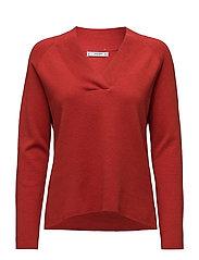 V-neckline sweater - RED