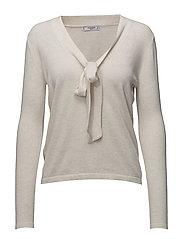 Bow v-neckline sweater - LIGHT BEIGE