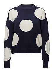 Embossed polka-dot sweater - NAVY