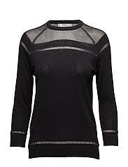 Striped panel sweater - BLACK