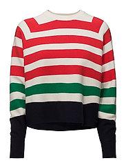 Stripe pattern sweater - RED