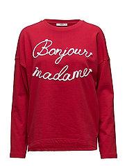 Embroidered message sweatshirt - RED