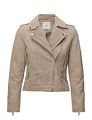 Suede biker jacket - LIGHT BEIGE