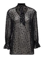 Bow polka-dot blouse - BLACK