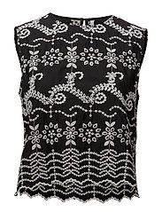 Embroidered cotton top - BLACK