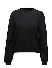 Back vent sweater - BLACK