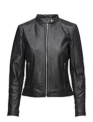 Mango - Quilted Panels Leather Jacket