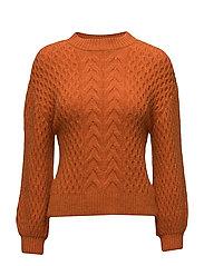 Cable-knit oversize sweater - ORANGE