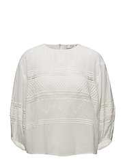 Guipure panel blouse - NATURAL WHITE