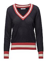 Tricolor openwork sweater - NAVY