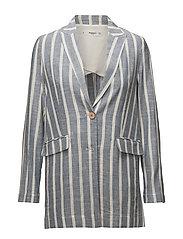 Striped linen blazer - MEDIUM BLUE