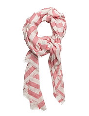 Stripe-pattern cotton scarf - RED