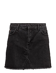 Frayed edges denim skirt - OPEN GREY