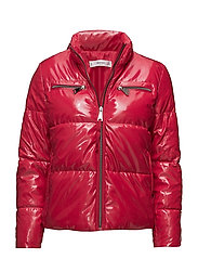 Vinyl quilted coat - MEDIUM RED