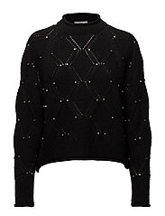 Studded knitted sweater - BLACK