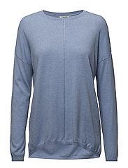 Openwork detail sweater - LT-PASTEL BLUE