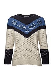 Open work-detail embroidered sweater - LIGHT BEIGE