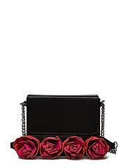 Flowers handle bag - BLACK