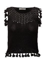 Tassels knit top - BLACK