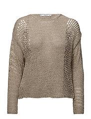 Openwork knit sweater - LT PASTEL BROWN