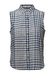 Check cotton shirt - MEDIUM BLUE