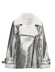 Faux shearling-lined biker jacket - SILVER