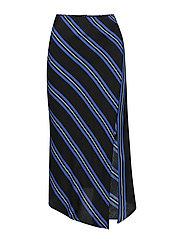 Striped asymmetric skirt - BLACK