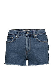 Frayed denim shorts - OPEN BLUE