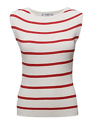 Striped ribbed top - RED